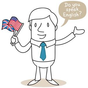 Englischer Geschäftsmann mit Fahnen in der Hand